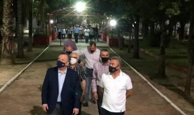 El Senador Michlig y el Intendente Rigo inauguraron la nueva iluminación Led de Plaza San Martín