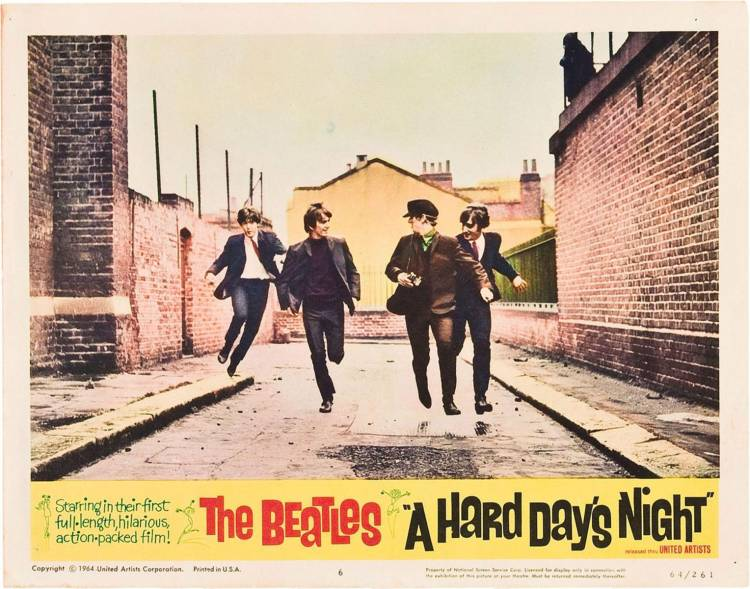 "Se estrena la primer película de los Beatles ""A hard day's night"" en Londres"