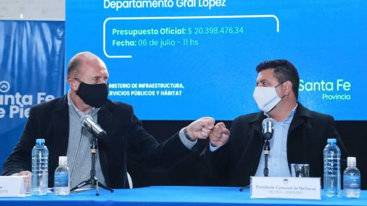 """Perotti: """"El desafío de las obras en Melincué nos tiene que unir a todos para generar las oportunidades que requiere a futuro esta localidad"""""""